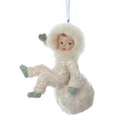 Silent Luxury Vintage-Style Sitting Snow Child Christmas Ornament