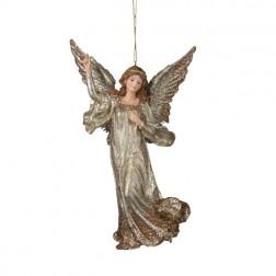 Glitter Platinum Angel Christmas Ornament