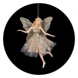Glittered Platinum Fairy Angel Ornament