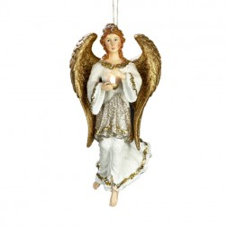 Ivory Angel with Gold Wings Holding an Led Candle