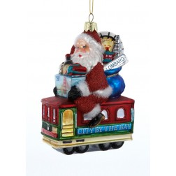 "Image of 5"" Glass Santa Sitting on San Francisco Trolley Ornament"