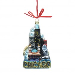 """Image of 5"""" Chicago Glass Ornament"""