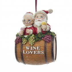 "Image of 4""Mr+Mrs Santa ""Wine Lover"" Barrel"