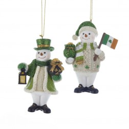 "Image of 3.75""Resin Irish Snowman Orn 2/A"
