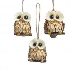 "Image of 2.4""Wood & Sisal Owl Orn 3/Asstd"