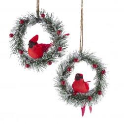 "Image of 6.3""Iced Pine Wreath W/Bird Orn 2/A"