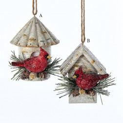 "3"" Cardinal on Birch Birdhouse Ornament"