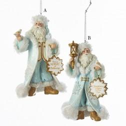 "5.38"" Icy Blue Santa Ornament"
