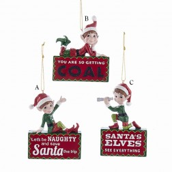 "4.25"" Naughty Elves Ornament"