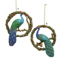 "5"" Resin Peacock Wreath Ornament"