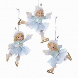 "3.75"" Icy Blue Girl Skater Ornament"