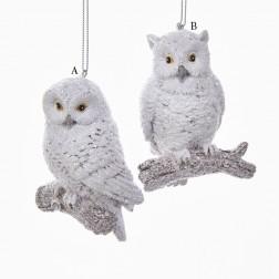 """3.5"""" Resin White Owl Ornament"""