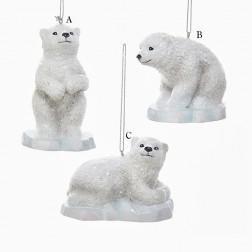 """3.25"""" White Polar Bear on Iceberg Ornament"""