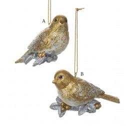 """4"""" Gold/Silver Chickadee Ornament"""