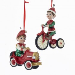 "4"" North Pole Elf with Car/Tricycle Ornament"