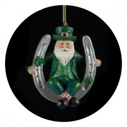 Luck of the Irish Santa Claus with Horseshoe Christmas Ornament