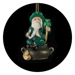 Luck of the Irish Santa Claus with Pot of Gold Christmas Ornament