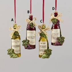 Bottle With Grapes & Raffia Bow Christmas Ornament