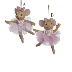 "4"" Resin Ballet Mouse Ornament"