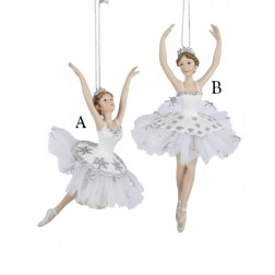 "6.75"" Resin Silver/White Ballet Ornament"