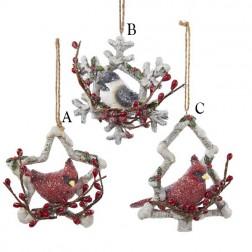 "5.5"" Resin Cardinal/Chickadee Ornament"