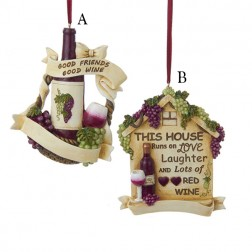 """4.25"""" Resin Wine with Wording Ornament"""