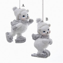 "3.5"" White and Silver Skating Polar Bear Ornament"