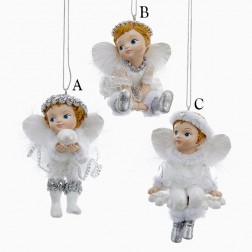 "3.75"" White and Silver Angel with Fluffy Wings Ornament"