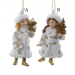 "4.75"" White and Gold Winter Girl with Tree Ornament"