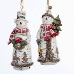 "Image of 5""Birch Snowman Holding Tree/Wreath"