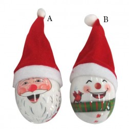 75mm Decoup Santa/Snowman with Hat Ornament