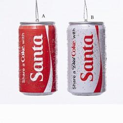 "3"" Share a Coke/Diet Coke Santa Cans Ornament"