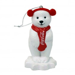 Image of Coke Polar Bear W/Ear Muffs Orn