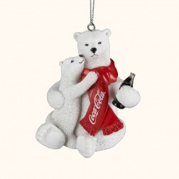 Polar Bear and Cub Drinking Coca-Cola Christmas Ornament