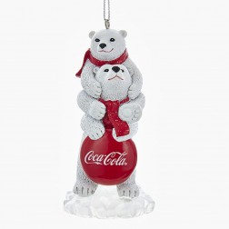 "3.5"" 2 Bears with Coca-Cola Sign Ornament"
