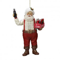 Image of Santa Claus Holding a Six-Pack of Coca-Cola Bottles Christmas Ornament