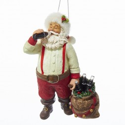 Santa Drinking Coke with Sack & Bottles