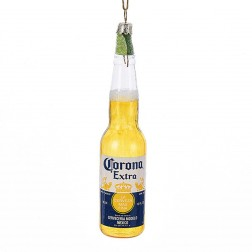 """5.25"""" Glass Corona Bottle with Lime Ornament"""
