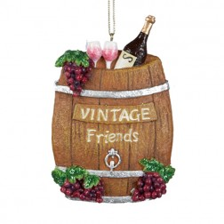 Tuscan Winery Barrel with Verse and Grapes Christmas Ornament
