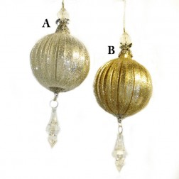 Gold or Silver Acrylic Ball With Drop Christmas Ornament