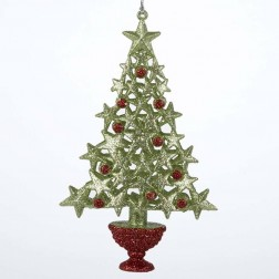 "Image of 6.5""Acrylc Green/Red Berry Tree"