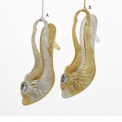 """4.75"""" Gold/Silver High-Heeled Shoe Ornament"""