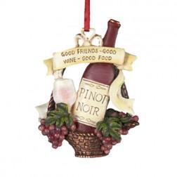 "Tuscan Winery Pinot Noir  ""Good Friends- Good Wine- Good Food"" Christmas Ornament"