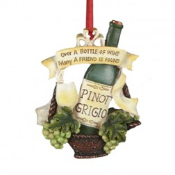 """Tuscan Winery Pinot Grigio """"Over A Bottle Of Wine- Many A Friends Is Found"""" Christmas Ornament"""