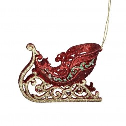 """4.7"""" Acrylic Red/Green/Gold Sleight Ornament"""