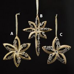 Gold-Silver Start With Clear Jewels Christmas Ornament