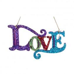 """Multi Colored Glittered """"Love"""" Ornament"""