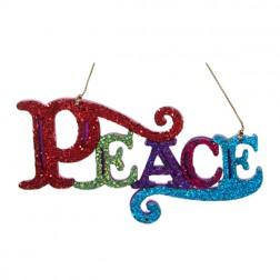 """Multi Colored Glittered """"Peace"""" Ornament"""