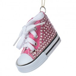 Christmas Pink High Top Sneaker with Jeweled Toe Christmas Ornament
