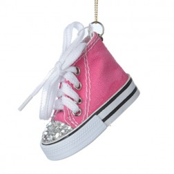 Tween Christmas Pink High Top Sneaker with Jeweled Toe Christmas Ornament